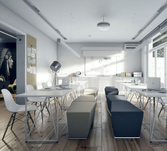 Modern style classroom with white tables and writing board and wooden floor