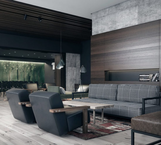 Cozy and domestic lounge and conference hall area with dark wall paint and natural wood