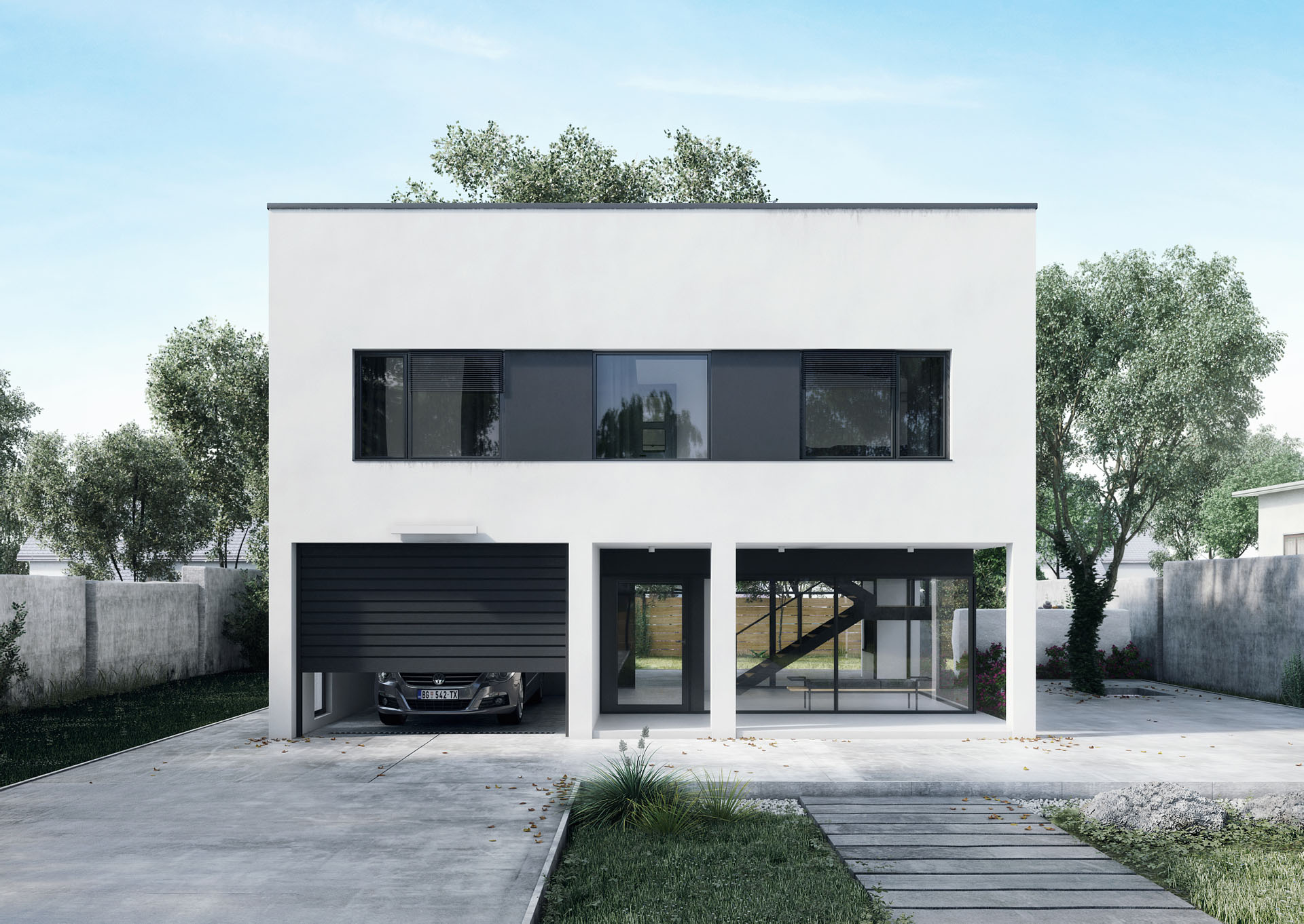 Modern White House With Garage And Glass Entrance Hall ...