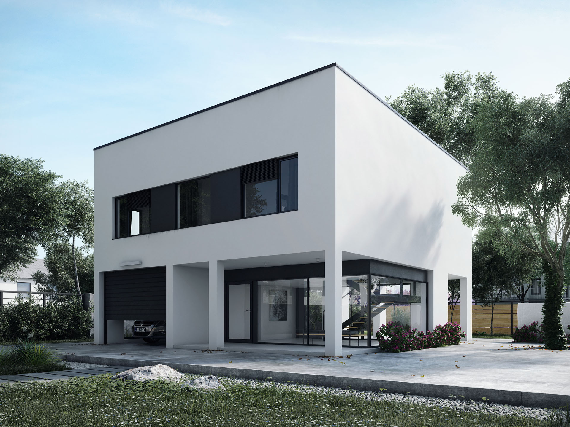 ... Modern White House With Garage And Glass Entrance Hall ...