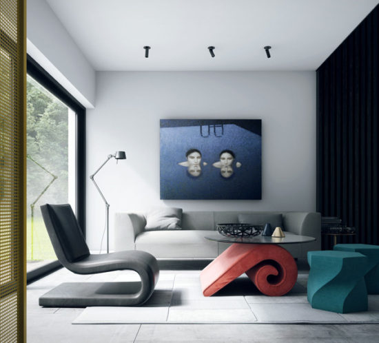 ing room inerior with black leather chair and grey fabric sofa and red table and blue picture on the wall