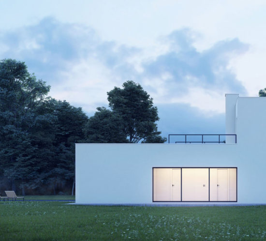 Dusk view of a modern minimal design white house in nature