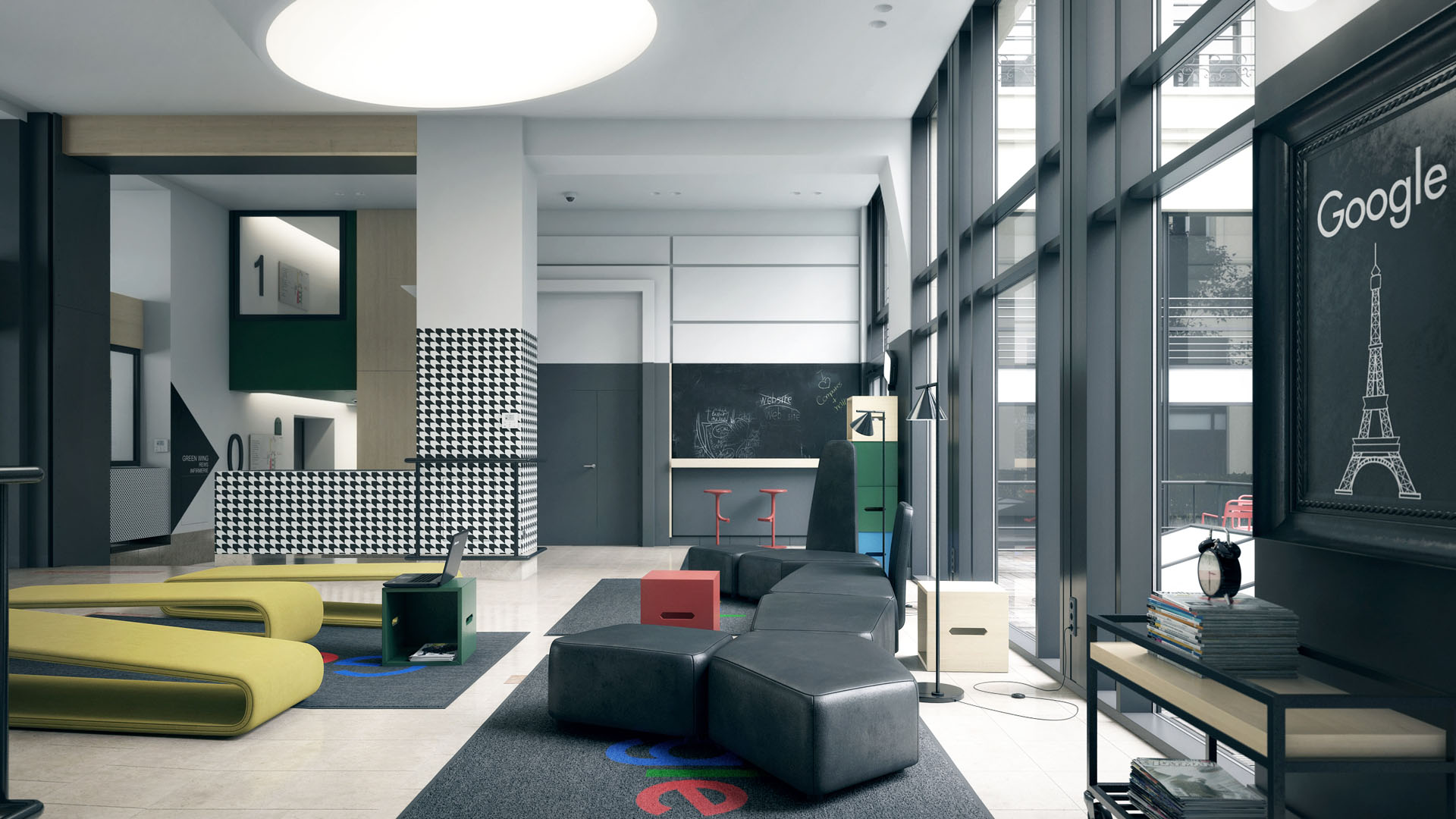 office lobby designs. Colorful Lounge Area With Black Leather Pouf And Patterned Wallpaper Office Lobby Designs