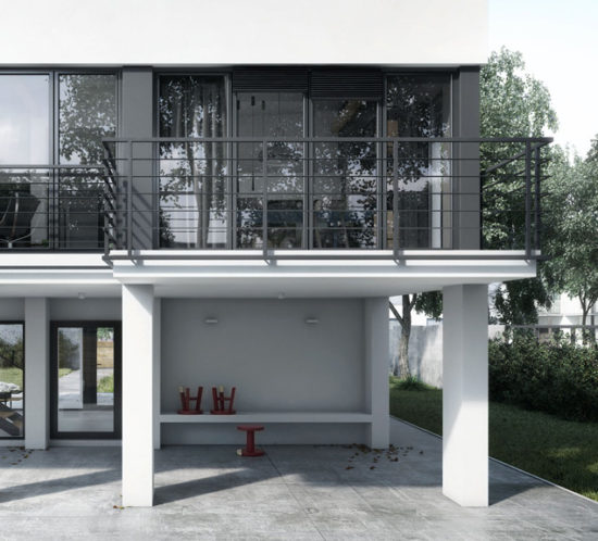 Modern house balcony with dark grey metal fence